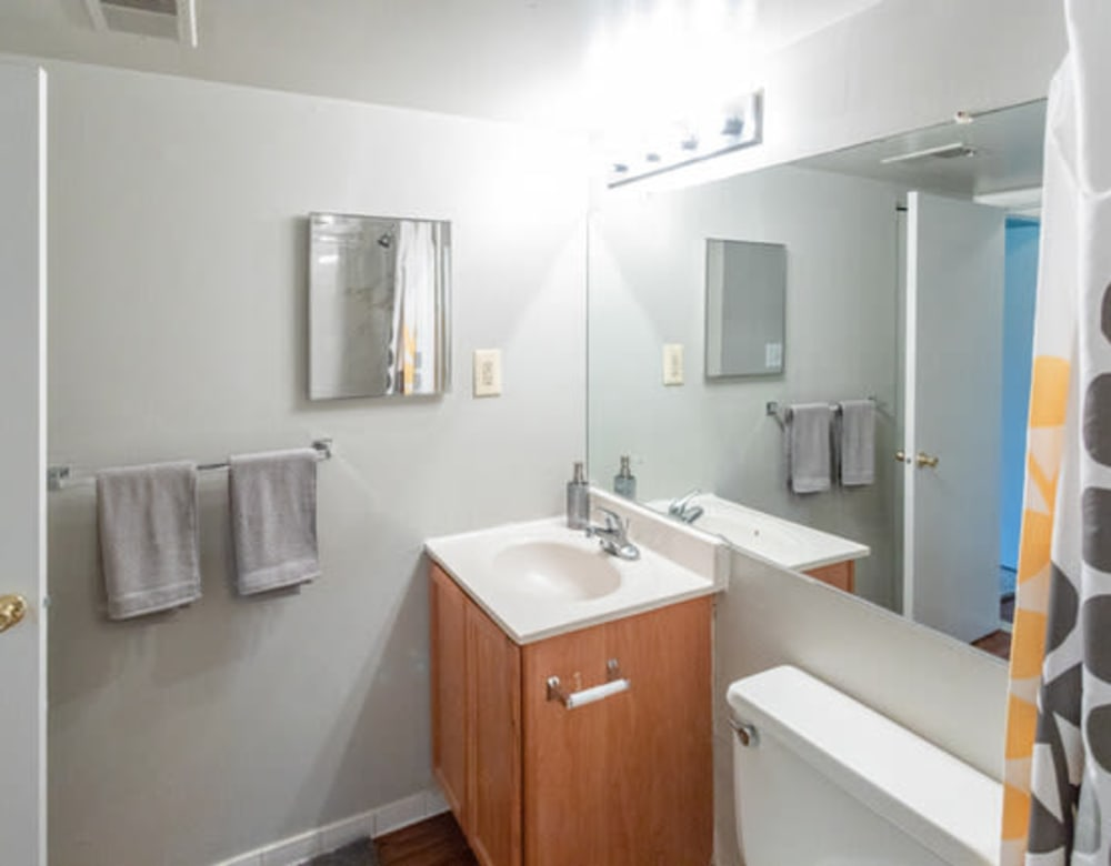 Apartment's bathroom with a large vanity mirror at Eagle Rock Apartments at Towson in Towson, Maryland