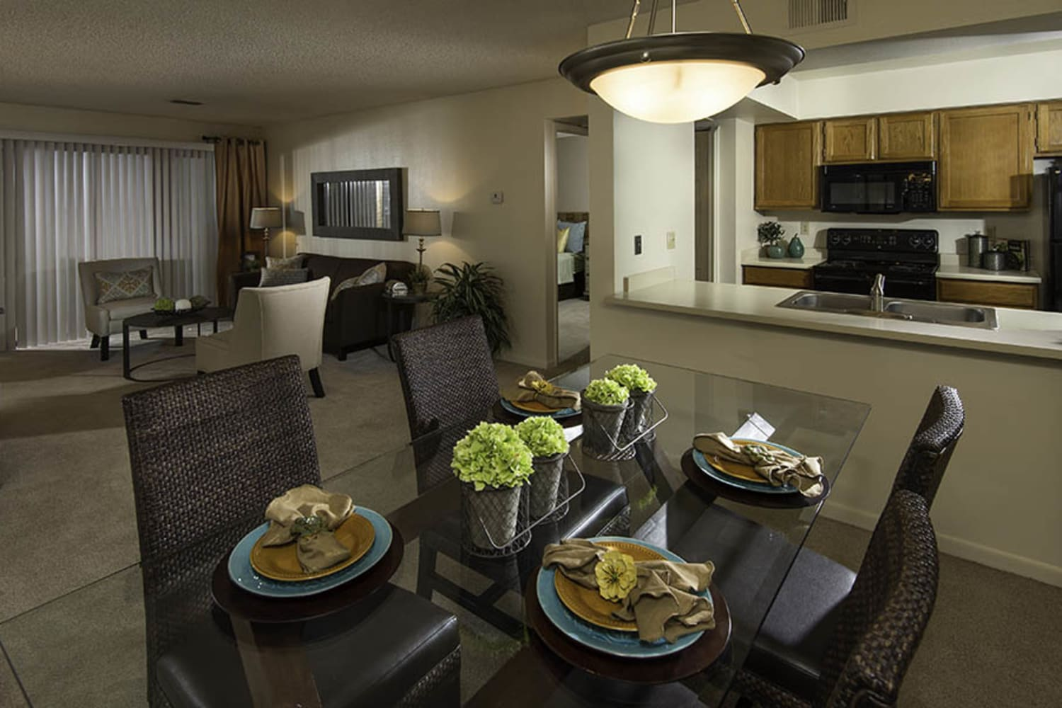 Modern and open living room and dining room floor plans Waterford Place Apartments in Mesa, Arizona
