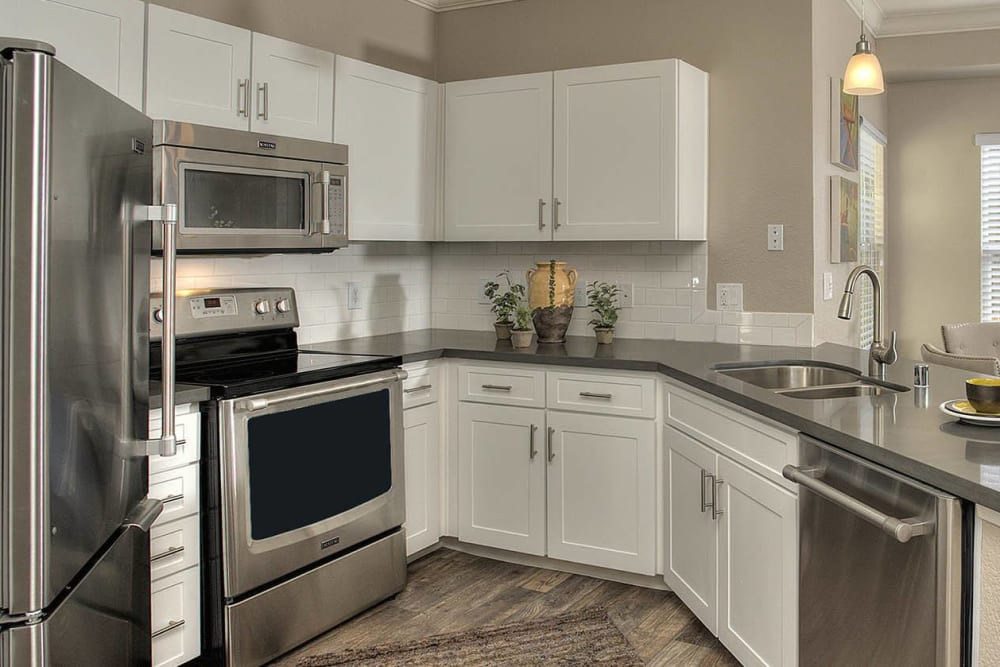 Large kitchen with plenty of cabinet space at Iron Point at Prairie Oaks in Folsom, California