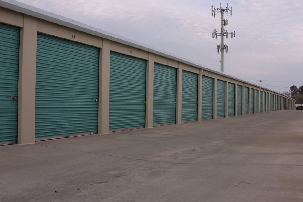 Outdoor row of storage units at Superior Self Storage in Gold River, California