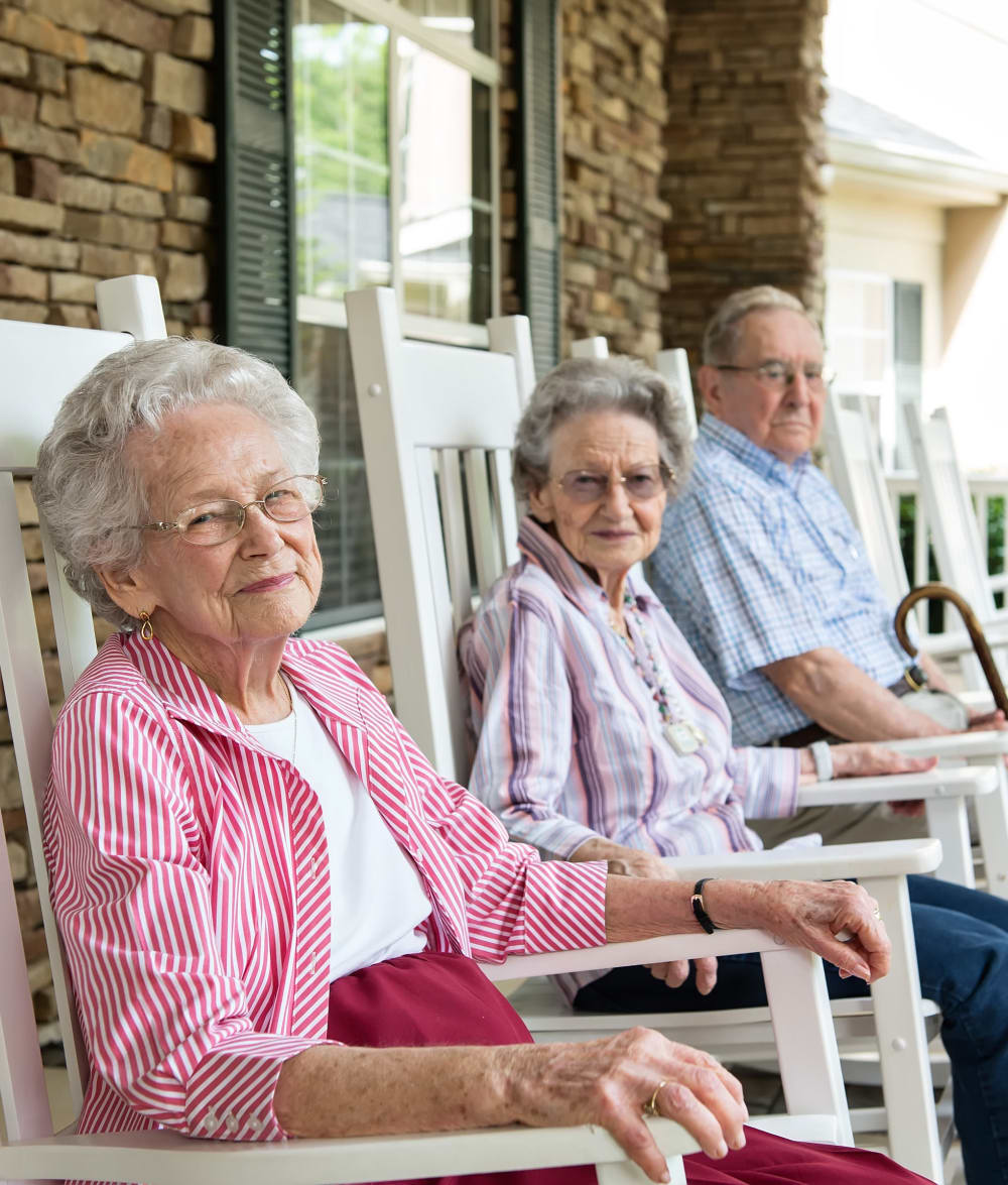 Residents enjoying fresh air at Azalea Estates of Fayetteville in Fayetteville, Georgia