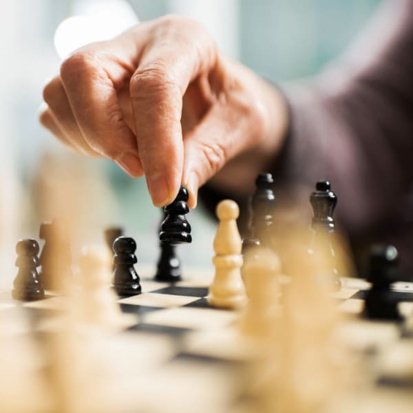 Playing chess at Pacifica Senior Living Menifee in Sun City, California.