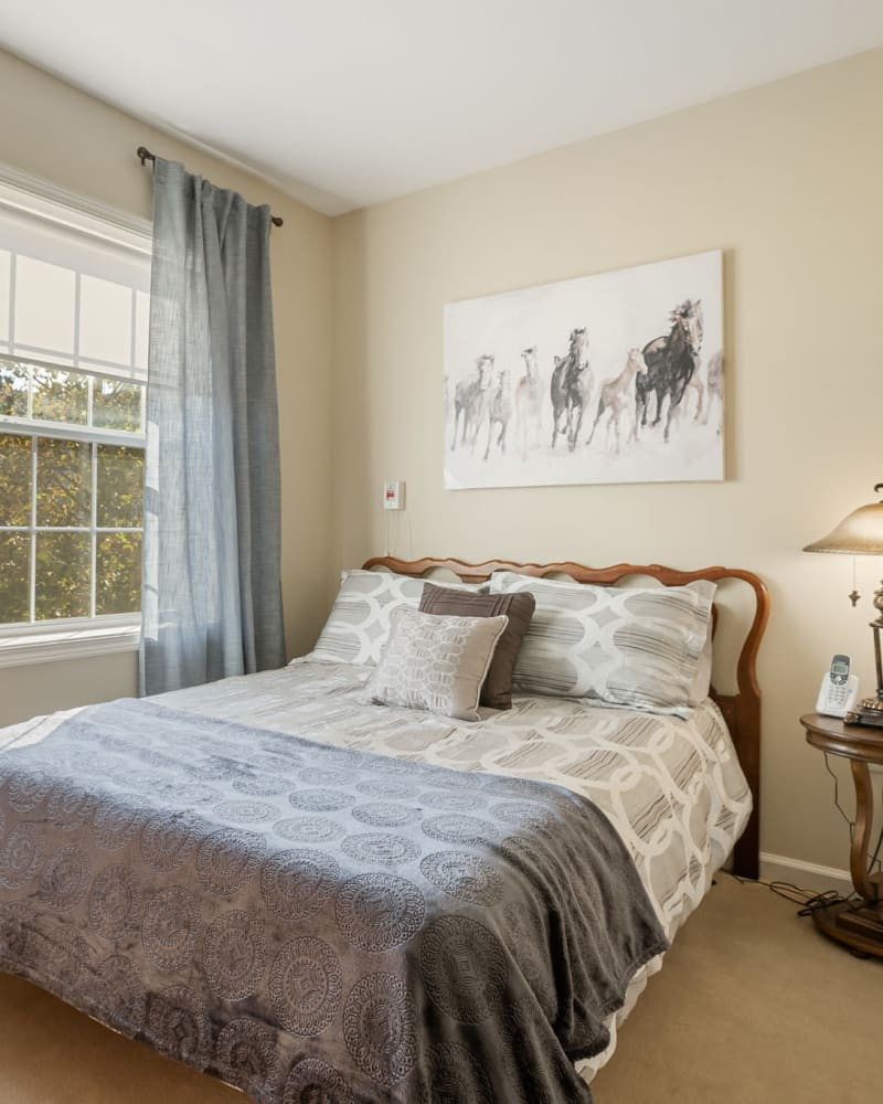 Bed in a 1 bedroom senior apartment at The Hearth at Franklin in Franklin, Tennessee