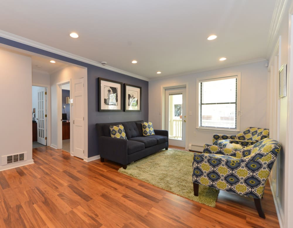 Hardwood floors in living area at Clemens Place in Hartford, Connecticut