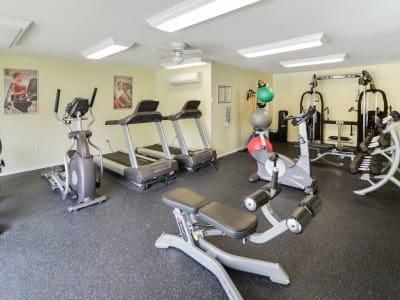 Modern fitness center at apartments in Lansdale, Pennsylvania