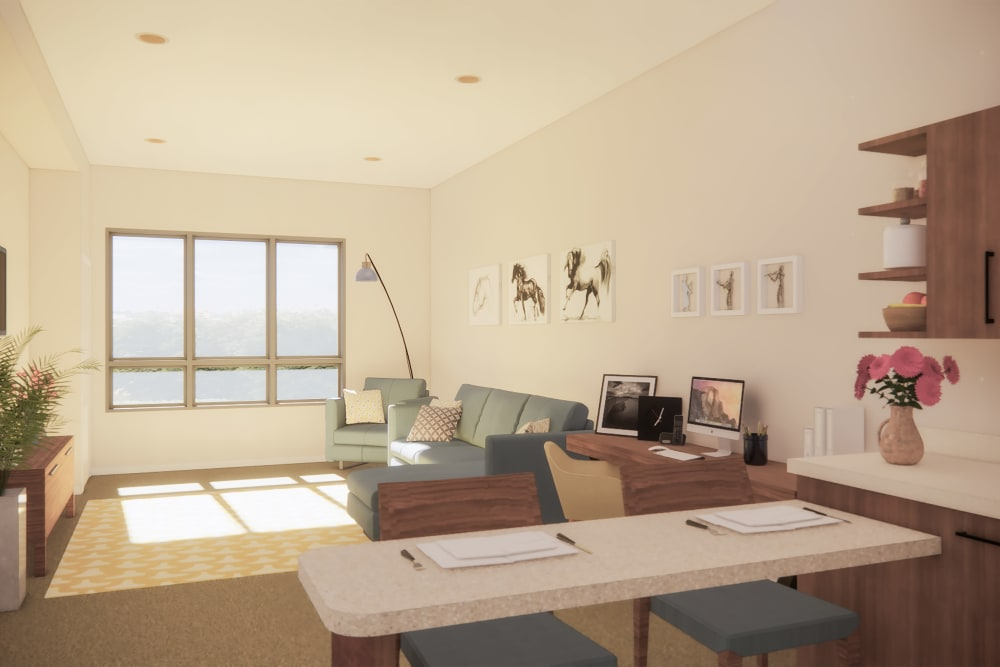 Rendering of an apartment kitchen and living room at Merrill Gardens at West Covina in West Covina, California.