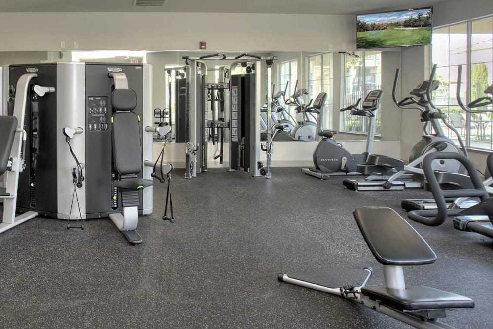 Fitness center with plenty of workout stations at Iron Point at Prairie Oaks in Folsom, California