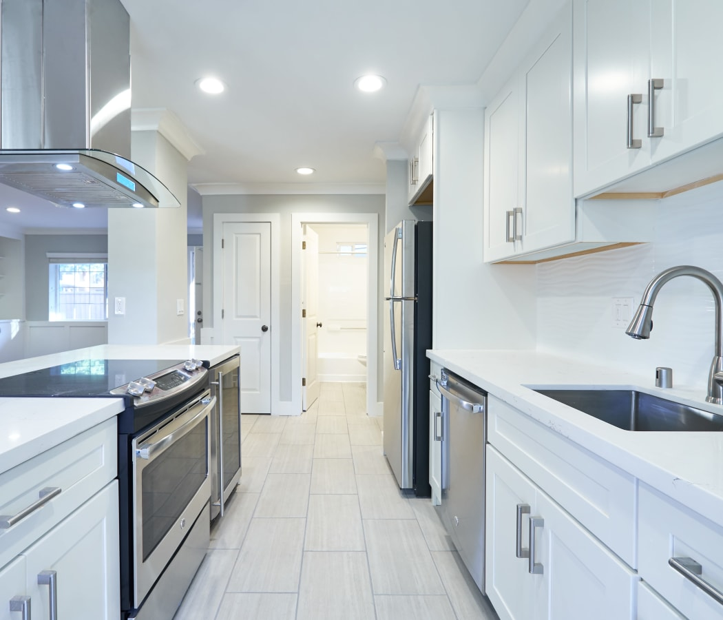 Modern kitchen with stainless-steel appliances at Allure in Alamo, California
