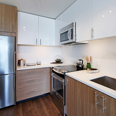 Beautiful bright kitchen at Rooster Apartments in Seattle, WA