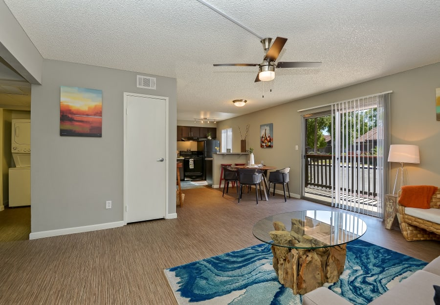 Model home with an in-unit washer and dryer and gourmet kitchen at 505 West Apartment Homes in Tempe, Arizona
