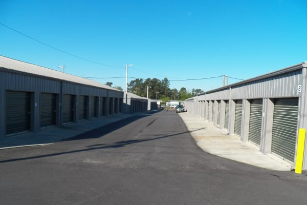 Outdoor view of spaces at B & H Self Storage in Aiken, South Carolina