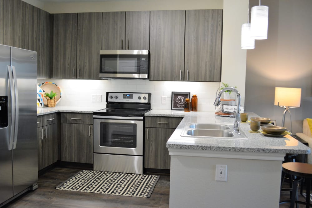 Modern style kitchen at The Abbey at Sonterra in San Antonio, Texas