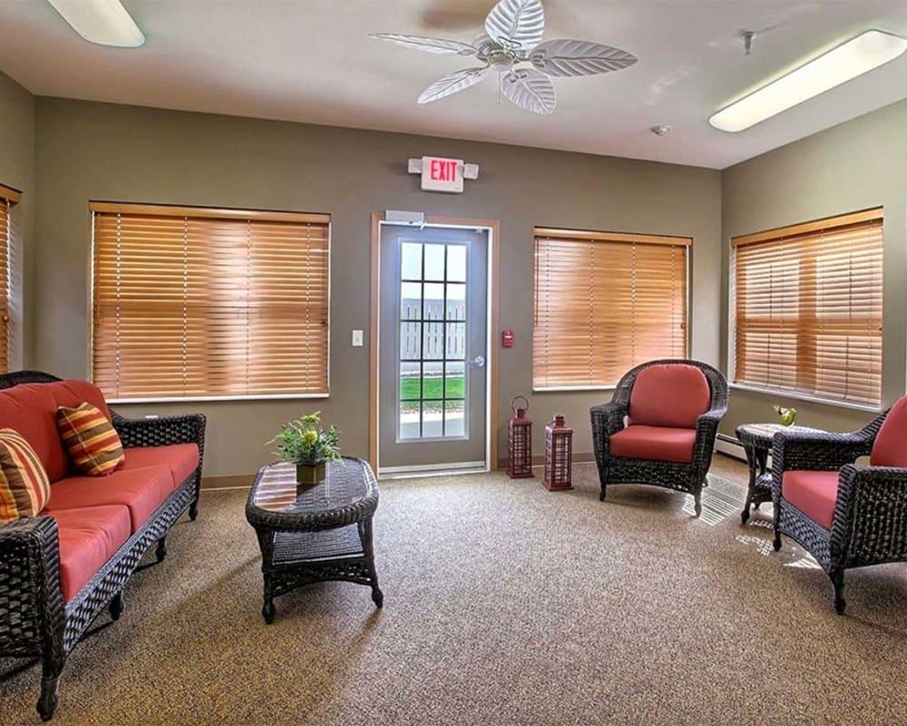 Cozy living room at Milestone Senior Living in Hillsboro, Wisconsin.
