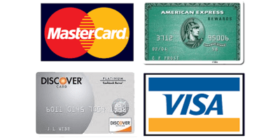 Accepted cards at A-1 Self Storage in San Diego, California