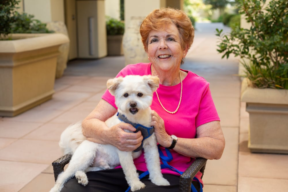 Resident and pet at our senior living community
