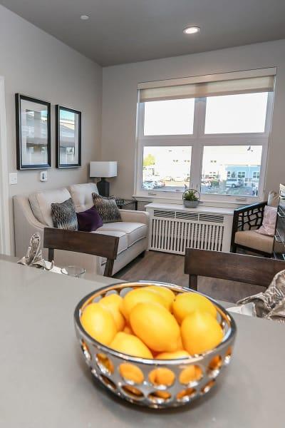 Modern apartment living room at Quail Park at Morrison Ranch in Gilbert, Arizona