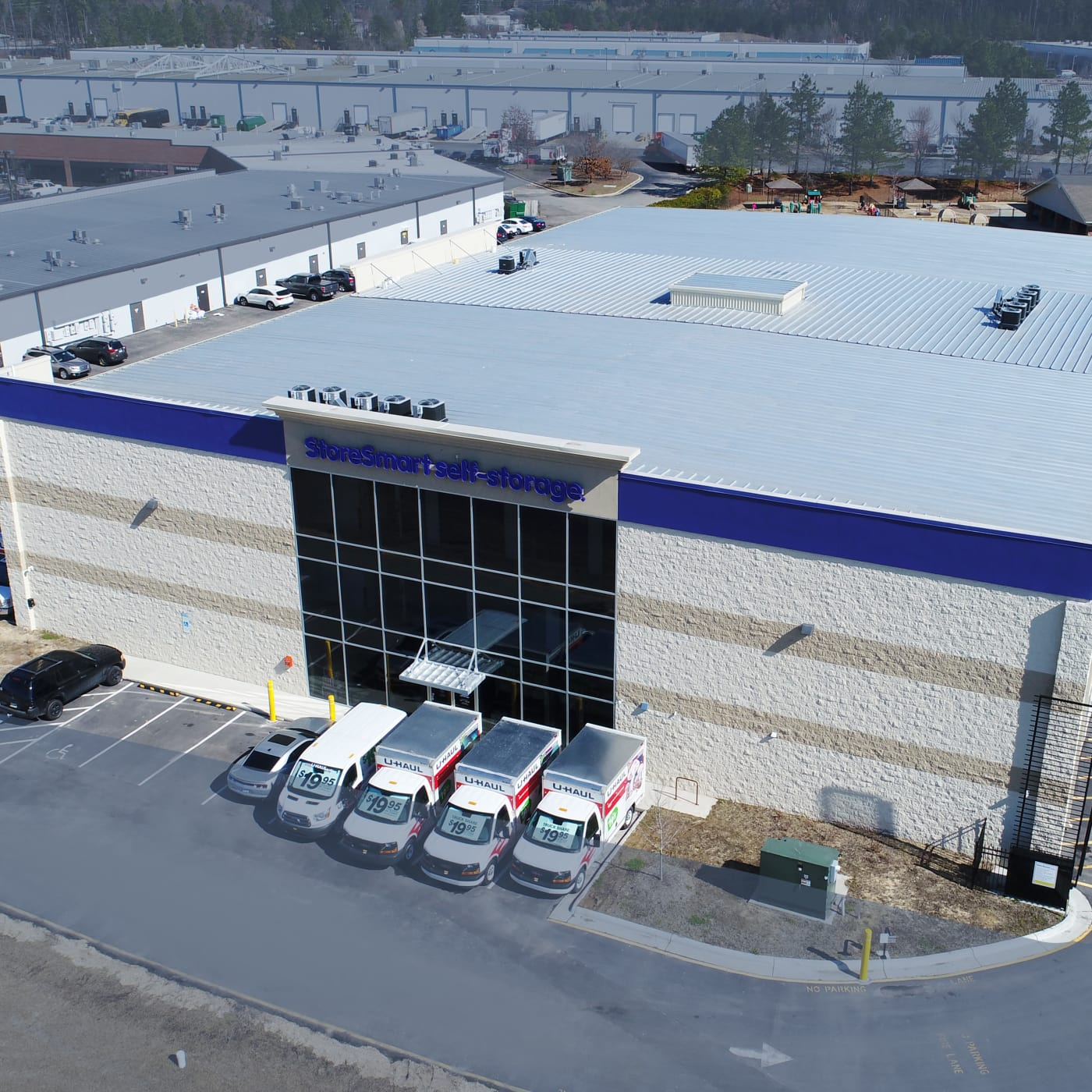 Aerial view of StoreSmart Self-Storage in Durham, North Carolina