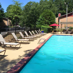 Shimmering pool and sundeck at Abbots Glen