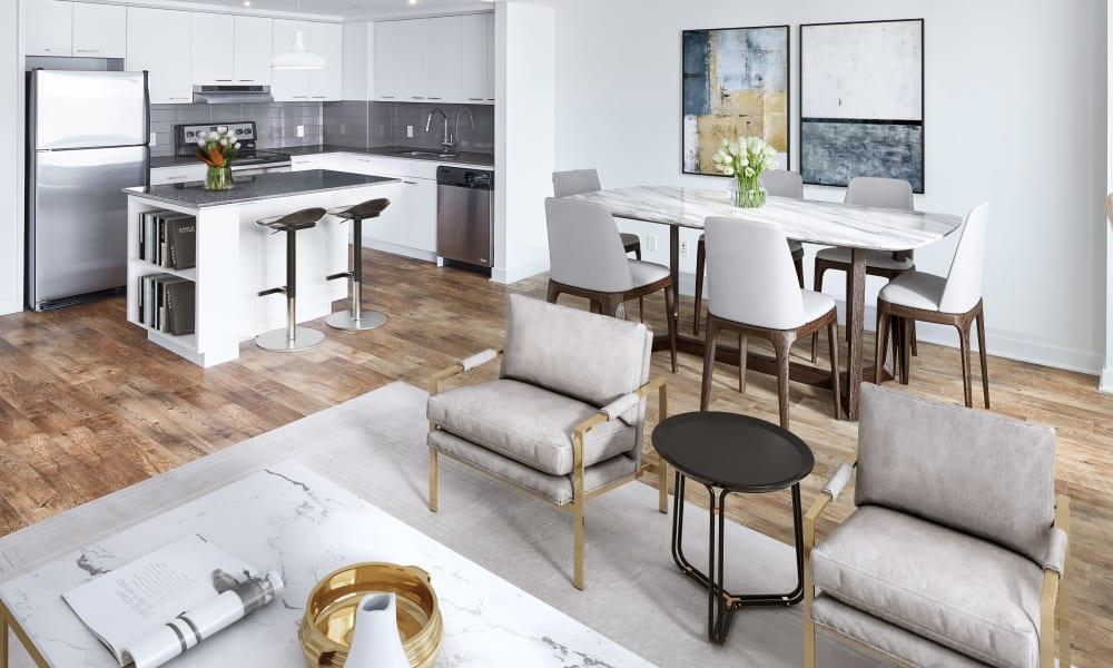 Open spacious floor plan with hardwood flooring at 19Twenty Apartments in Halifax, Nova Scotia