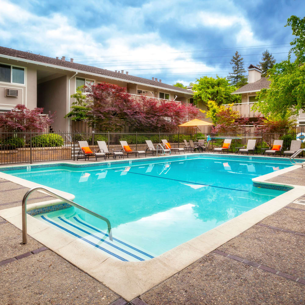 Beautiful pool at Greendale Apartments in Mountain View, California