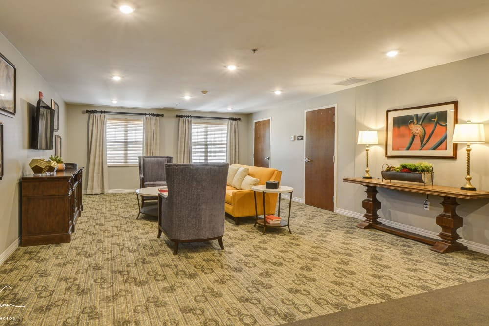 Spacious TV room at Arcadia Senior Living Clarksville in Clarksville, Tennessee