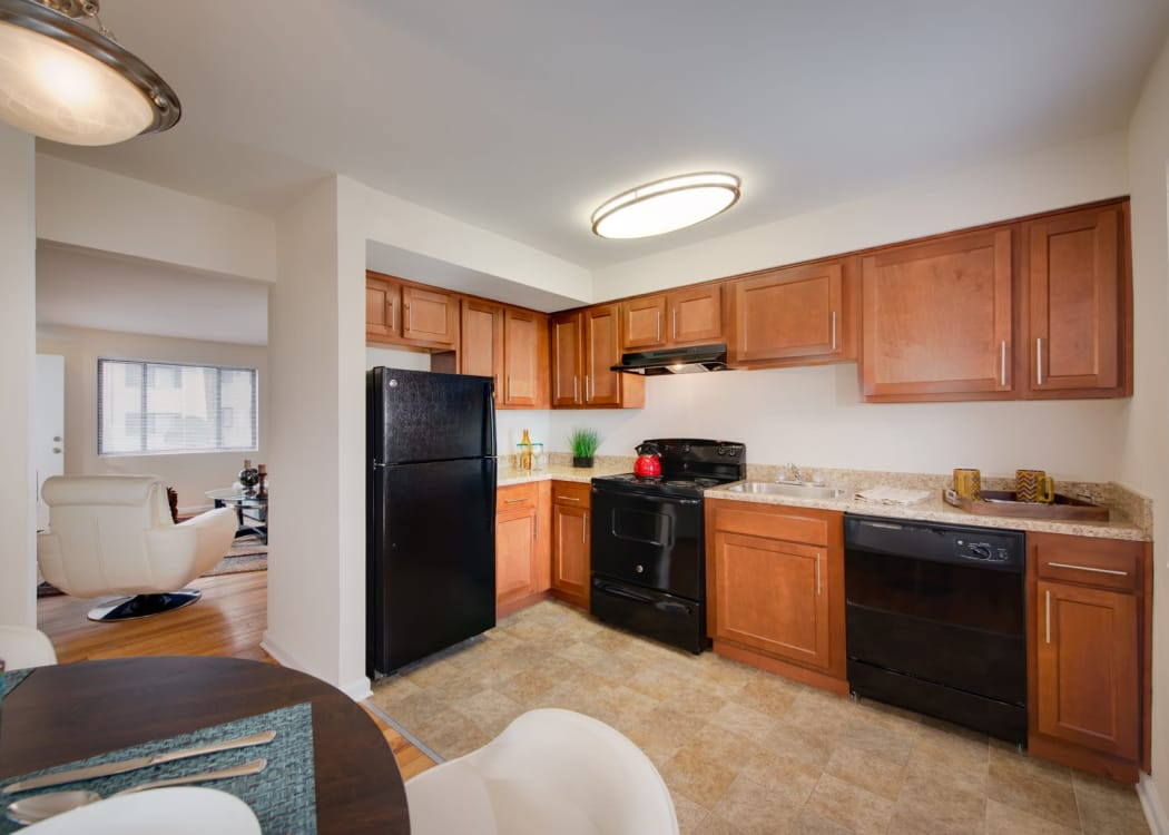 Modern kitchen in model home at The Residences at Silver Hill in Suitland, MD