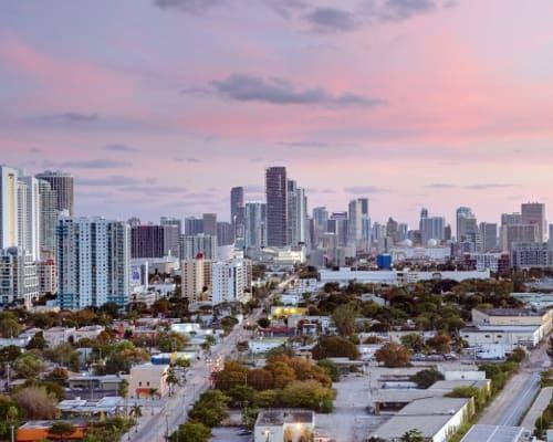 View of the city at dusk near Aliro Apartments in North Miami, Florida