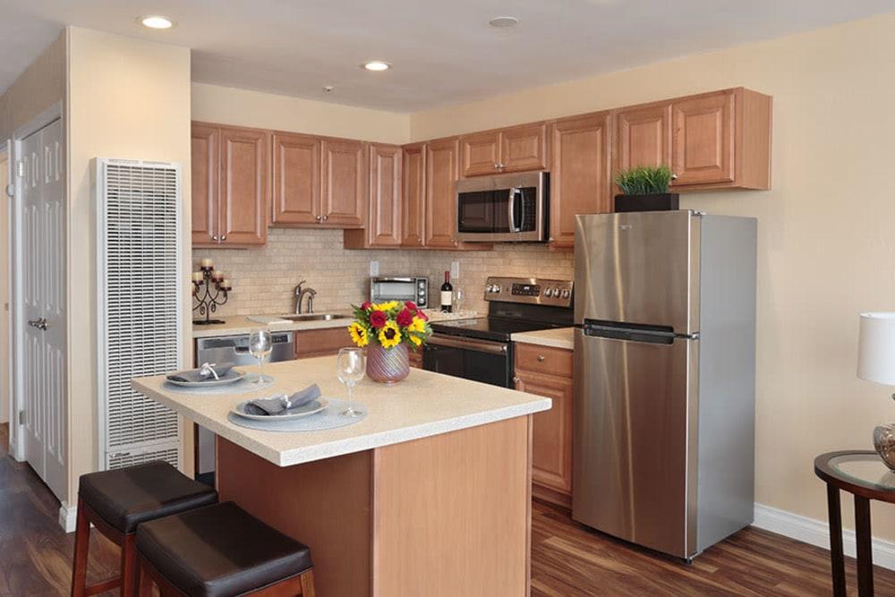 Resident kitchen at Monte Vista Village in Lemon Grove, California.