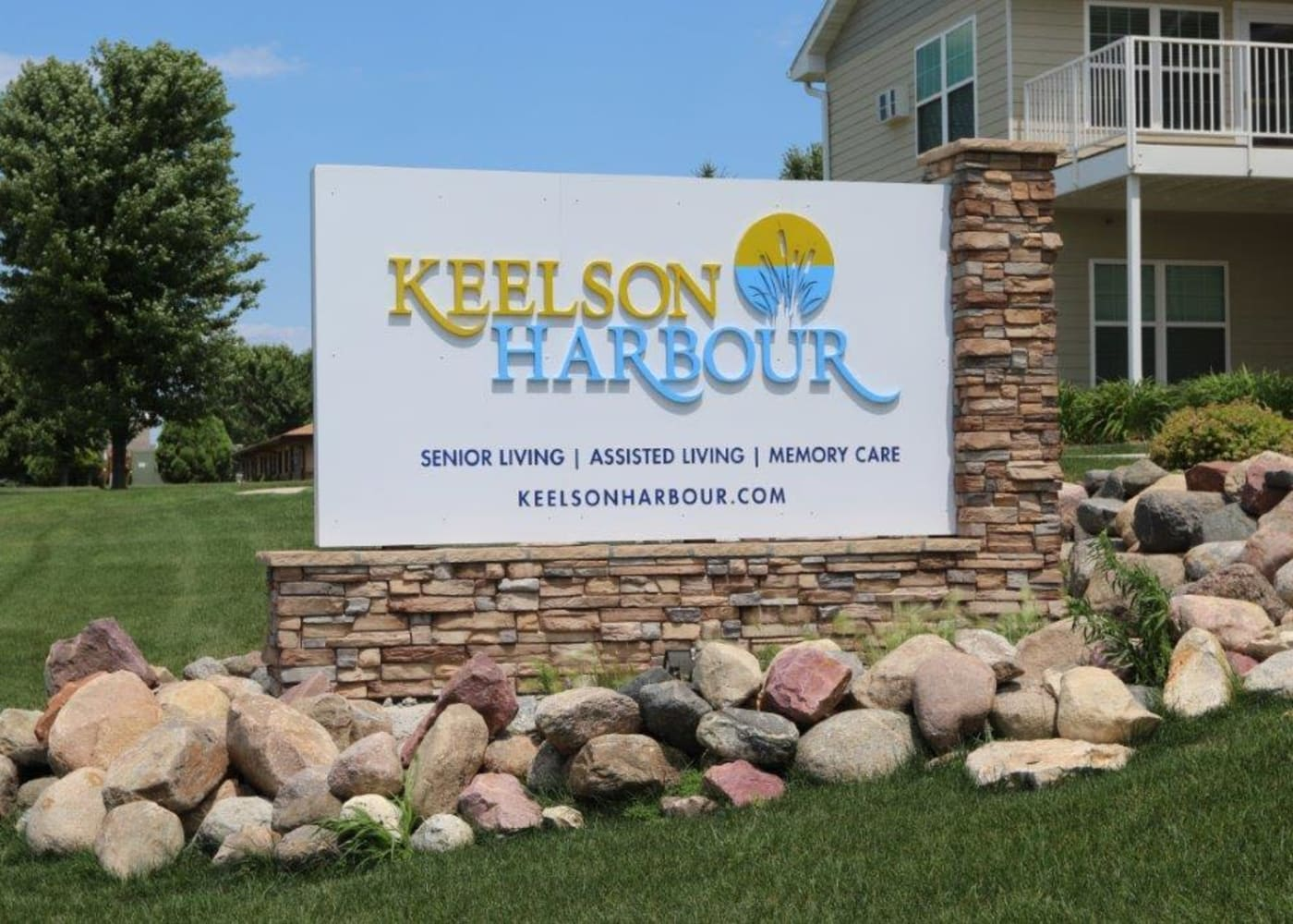 Signage on the lawn at Keelson Harbour in Spirit Lake, Iowa.