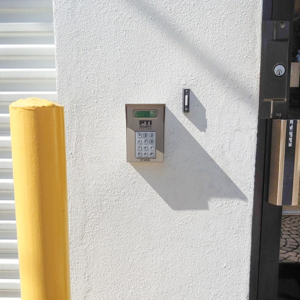 Keypad at the entrance to StorQuest Express - Self Service Storage in Tampa, Florida