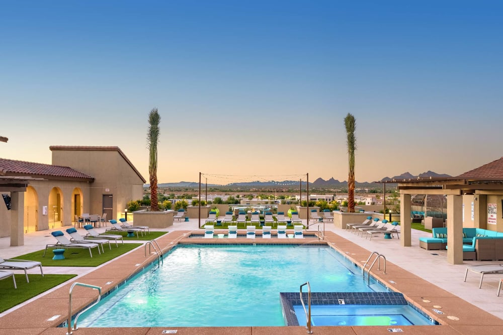 Beautiful swimming pool at sunrise at The Core Scottsdale in Scottsdale, Arizona