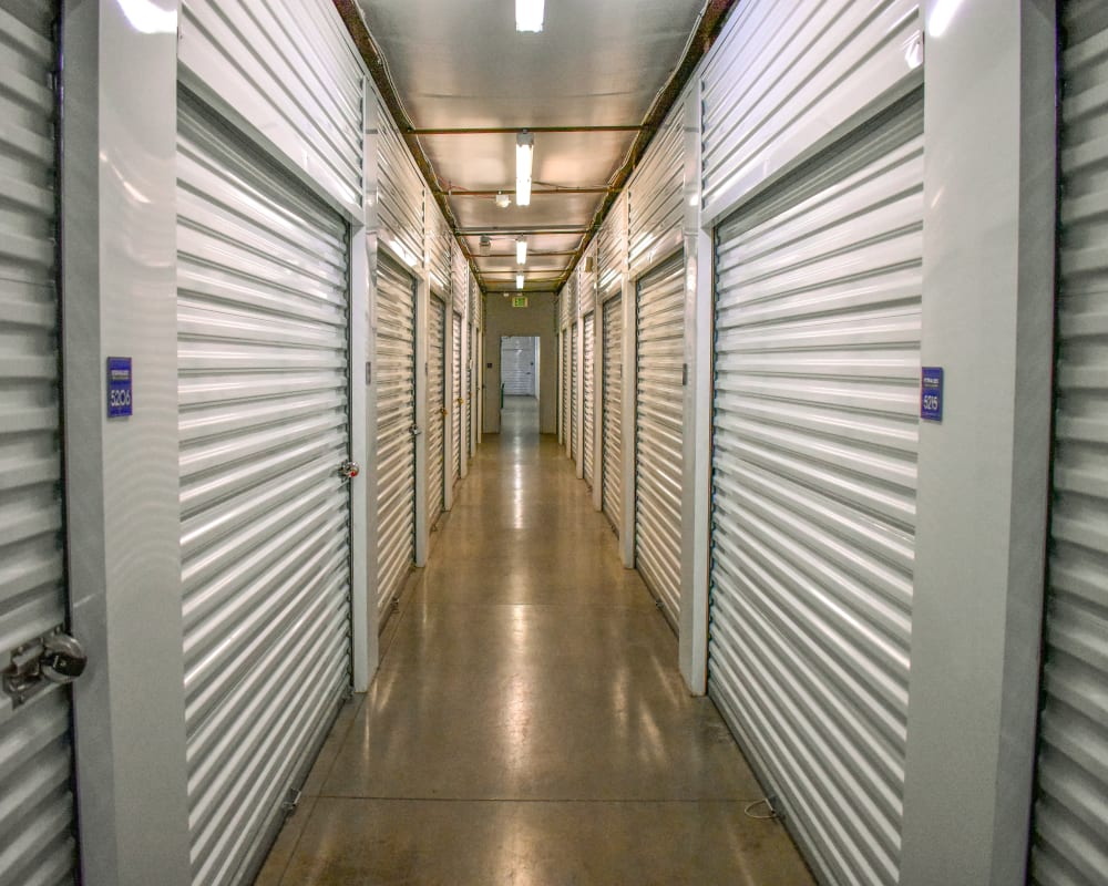 White doors on interior climate-controlled storage units at STOR-N-LOCK Self Storage in Littleton, Colorado