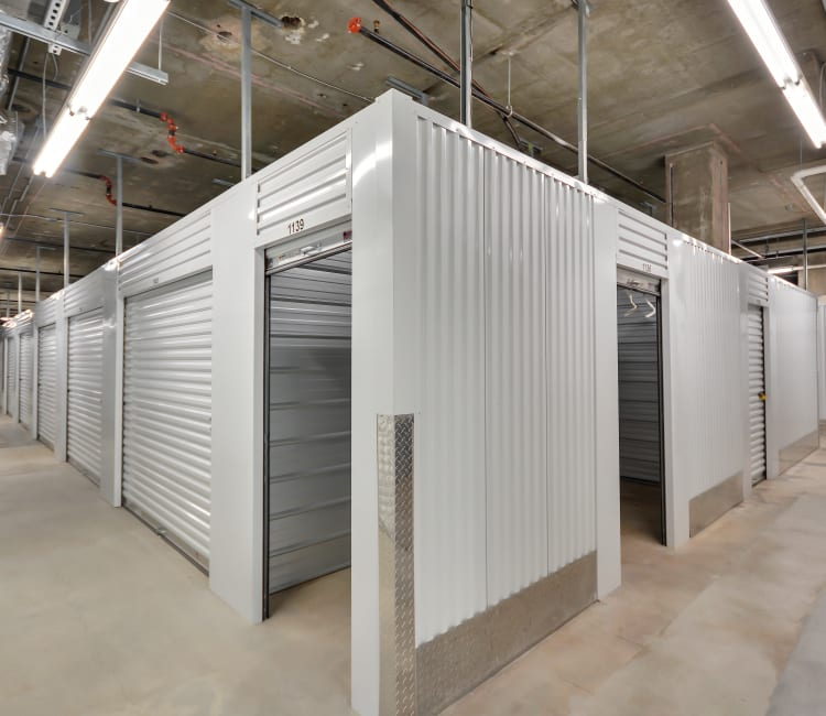 Well-lit indoor units at Space Shop Self Storage in Atlanta, Georgia