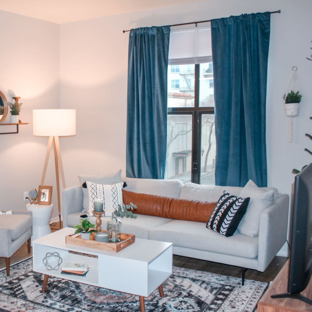 Model home's living space at K Street Flats Apartment Homes in Berkeley, California