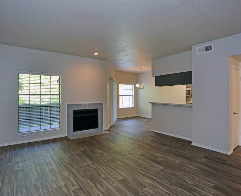 Living room with a fireplace at 1303 Main in Duncanville, Texas