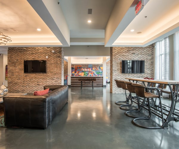 Luxury modern clubhouse at Mercury NoDa in Charlotte, North Carolina