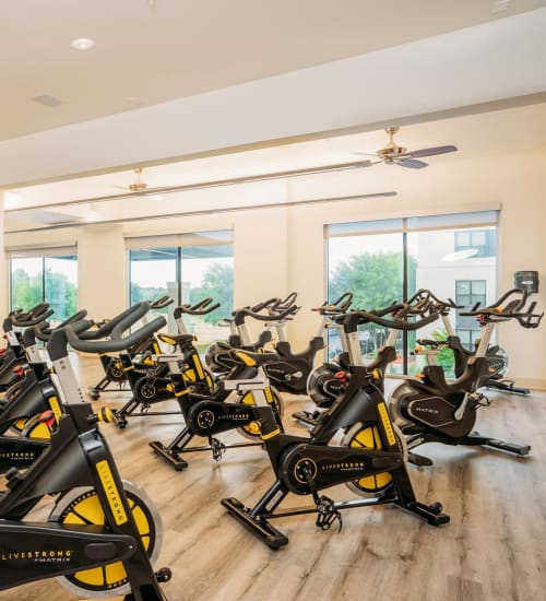 Spin room in the fitness center at Lakeshore Pearl in Austin, Texas
