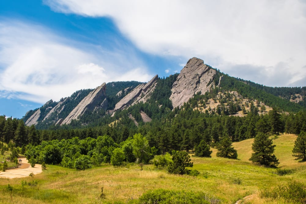 A view of the flat irons near Applewood Pointe of Westminster in Westminster, Colorado