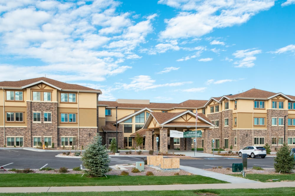 Exterior shot at of Assisted Living Community at Pine Grove Crossing in Parker, Colorado