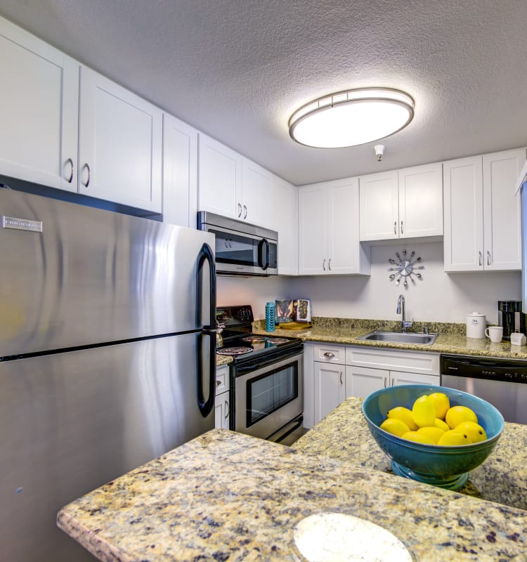 Modern kitchen with sleek, stainless-steel appliances in a model home at Sofi Sunnyvale in Sunnyvale, California