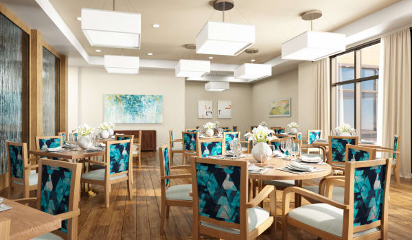 A spacious dining room at Anthology of Mayfield Heights - OPENING 2020 in Mayfield Heights, Ohio.