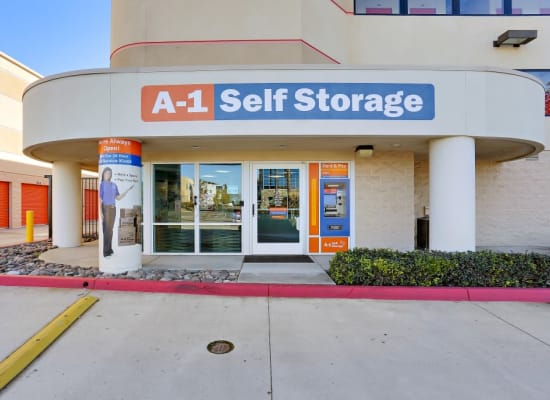 Front entrance to the office at A-1 Self Storage in San Diego, California
