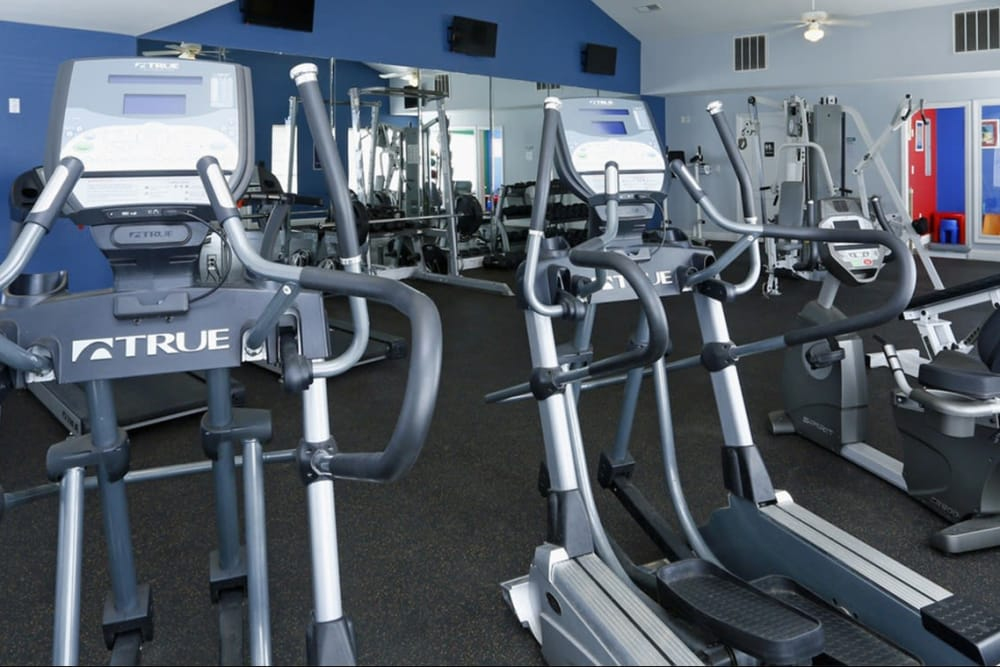 Fully equipped fitness center at Park at Clearwater in Aberdeen, North Carolina
