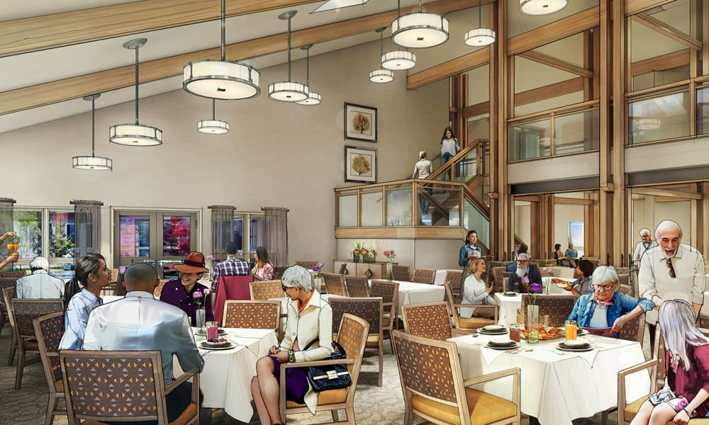 Rendering of dining room at The Landing a Senior Living Community in Roseburg, Oregon