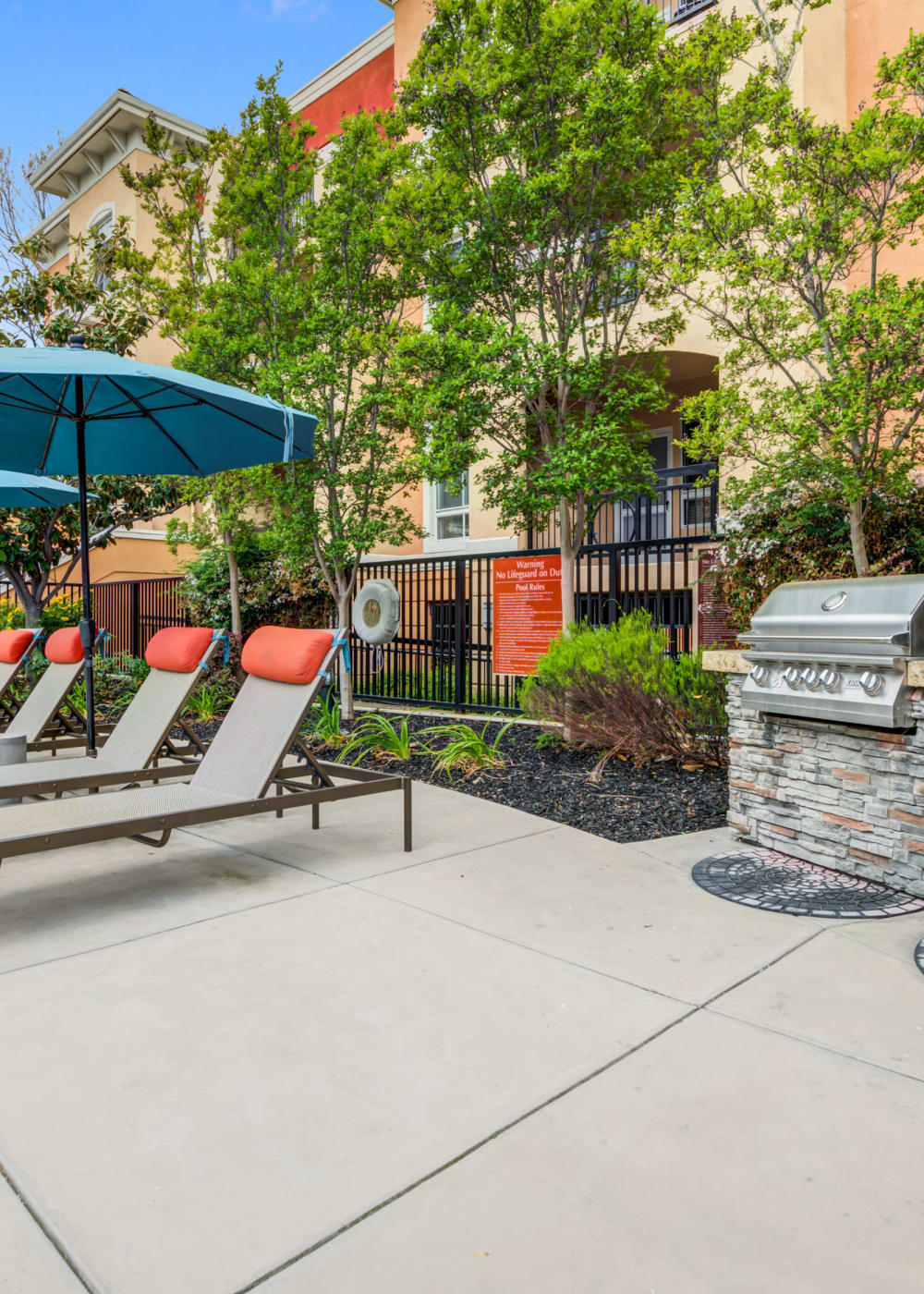 BBQ area on a beautiful afternoon at Villa Del Sol in Sunnyvale, California