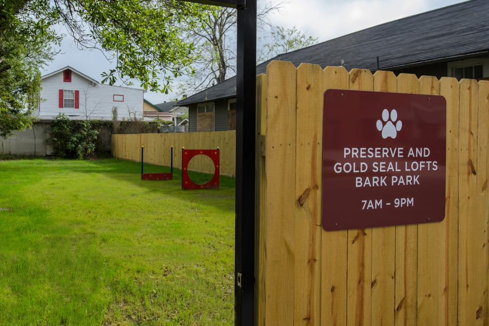 Dog park at Gold Seal Lofts in New Orleans, Louisiana