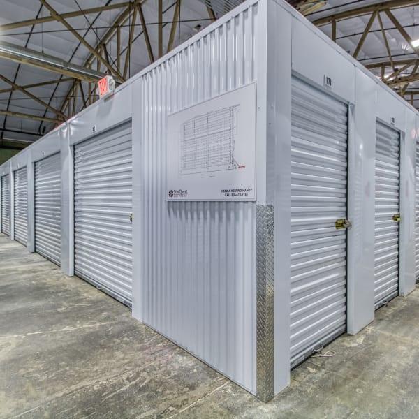 Indoor storage units at StorQuest Self Storage in Modesto, California