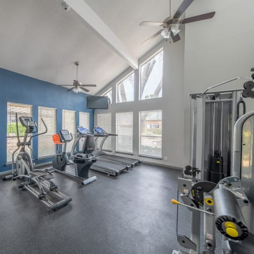 View virtual tour of our fitness center at Ridgeview Place in Irving, Texas