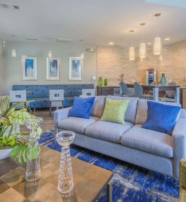 Clubhouse with amenities poolside at The Mark in Raleigh, North Carolina