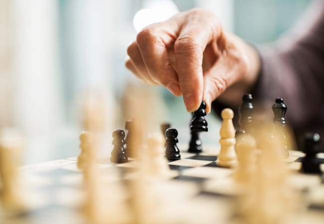 Board games at Ramsey Village Continuing Care in Des Moines, Iowa